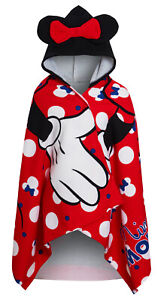 Girls Disney Minnie Mouse Hooded Towel Kids Character Bow Beach Bath Wrap Poncho