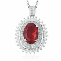 """Chain Pendant Necklace Red Glass Cubic Zirconia CZ for Women Size 20"""" Ct 9.84"""