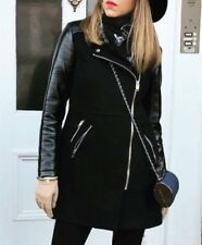 ZARA LONG BLACK COMBINATION BIKER JACKET SIZE MEDIUM (B24)  REF: 5854 227