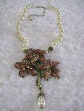 "HEIDI DAUS ""Alluring Amaryllis"" Holiday Crimson Floral Necklace (Orig.$279.95)"