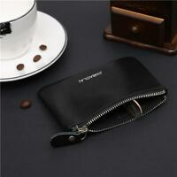 Black Coin Purse Credit Card Holder Genuine Leather Wallet