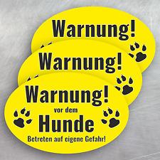 """3 Aufkleber oval 14,5 x 9,5cm """"Warnung vor dem Hunde!"""" Sticker Achtung Gefahr"""