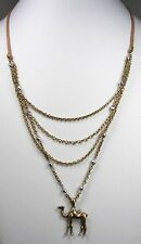 Lucky Brand Camel Slide Necklace Leather & Layered Chain - Silver & Gold Tone