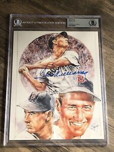 HOF TED WILLIAMS SIGNED AUTOGRAPHED 8X10 PHOTO RED SOX BECKETT BAS SLABBED