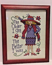 Red Hat Purple Dress Lady Framed THE OLDER I GET THE BETTER I WAS Cross Stitch