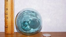 """Antique Japanese Glass Fishing Float Green 9"""" Circumference"""