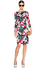 ERDEM REESE ORCHID PRINT PONTE JERSEY SHEATH DRESS IN RED UK 8 US 4 NWOT