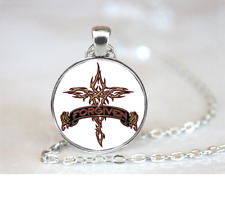 Forgiven Tribal Cross PENDANT NECKLACE Chain Glass Tibet Silver Jewellery