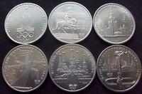 ✔ Russia Soviet Union 1 ruble 1980 Moscow Olympics Full Set 6 Pcs aUNC