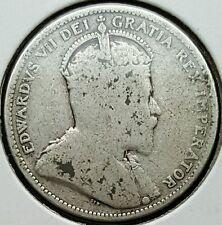 1909 Canada Quarter .925 Silver Coin King Edward VII KM#11 I