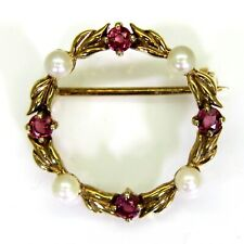 Ruby & Pearl 9ct Yellow Gold Wreath Brooch