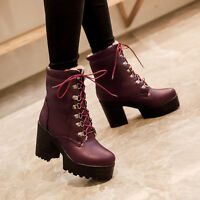 Elegant Womens Platform Lace Up Shoes High Heel Chunky Riding Gothic Ankle Boots