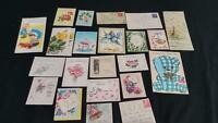 LOT 22 vintage 1920s 1950s greeting cards wedding thank you shower baby glitter