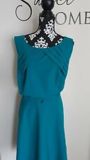 Womens Teal Color Pleated Top Detail A Line Dress Size 22W