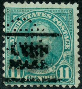 US 1931 #692 - 11c Hayes Perfin (GE) General Electric Precancel Lynn Mass Used