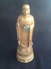 VINTAGE GILT BRONZE BUDDHA HOLDING PEACH JOSS STICK HAND HOLE DOUBLE LOTUS BASE