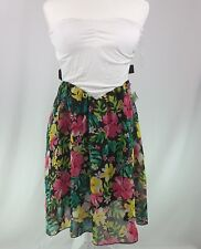 NEW Womens Dress Large Ivory Black Floral Strapless Hawaiian Zipper Cut Out Side