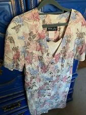 Vintage Petite Jazzy Shiny Floral Dress Flowers Cream Pink Size 14