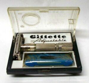 Vintage 1959 Gillette Fat Boy E-2 Adjustable Razor w/Case & Sealed Blades