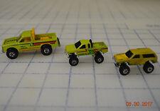 Lot of 3 Mean Green VTG M.I. 1987 Mattel MI Hot Wheels Truck 4x4 Lifted Blazer