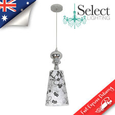BELLA, Polished Chrome Pendant Light, Black & White Retro Floral Shade, ON SALE!