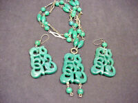 1960's 70's Vintage Faux JADE Necklace Earrings Carved Look Light Weight Plastic