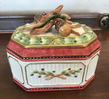 Fitz & Floyd Equestrian Collection Covered Box w/ Leaves & Acorns