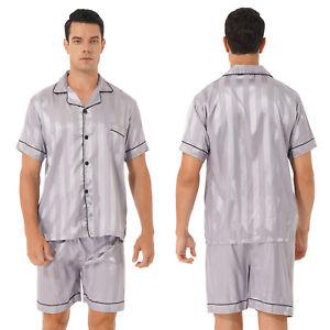 Men Stripe/Cow Print Satin Pajamas Set Classic Short Sleeve and Shorts Sleepwear