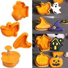 4pcs Halloween Ghost Pumpkin Theme Plastic Cookie Cutter Cake Decorating Tools
