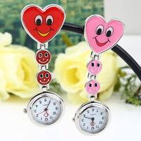 Smile Heart Style Clip-on Nurse Doctor Brooch Pendant Fob Pocket Quartz Watch FT