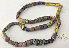 """Antique African Italian Trade Bead Necklace #M Beads 23.5"""" Primary Colors OLD"""