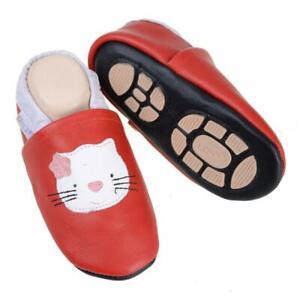 Liya's Babyschuhe Hausschuhe Lederpuschen - #635 Katze in rot