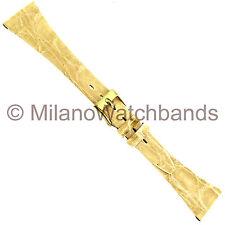 18mm Milano Genuine Caiman Crocodile Tapered Flat Ivory Regular Watch Band