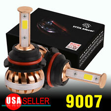2x 100W 10000LM White Gold LED Headlights kit 9007 HB5 High Low Dual Beam Bulbs
