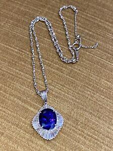 12.44 ct Oval Tanzanite and Diamond Pendant Necklace in Platinum--HM2229ZI
