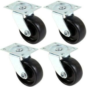 4 x Small Nylon Swivel Castor Wheels Set 30mm Caster Cart Trolley Mini Dolley
