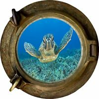 Huge 3D Porthole Sea Turtle Under sea View Wall Stickers Film Art Decal 479