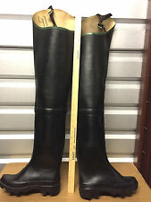 Ultra Rare Vintage French Baudou Black Rubber Hip Waders US8 EU41 UK7 Watstiefel