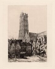 FRAMED 1800s ERNEST GEORGE ORIGINAL Etching St. Rumbold's Cathedral SIGNED COA