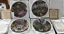 Lot 4 collector plates Garden Secrets artist Bond Knowles China Bradford Coa 1-4
