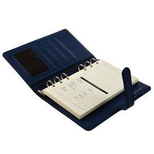 Pocket Organiser Planner Leather Filofax Diary Notebook Blue SZHKDT