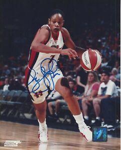 TINA THOMPSON AUTOGRAPHED 8x10 WNBA LOGO PHOTOGRAPH AUTHENTIC COMETS USC