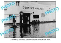 OLD 6 x 4 PHOTO OF DORNEY'S GARAGE CHINCHILLA QLD c1956 FLOODS MOBIL PLUME etc