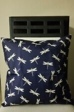 """Beautiful Navy with Off White Dragonflies Linen Pillow Cover 18"""" US Seller"""