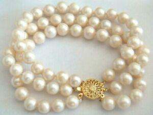 Beautiful AAA+ 3 Rows 8-9 mm White South Sea Pearl Bracelet 7.5'' Length 14k