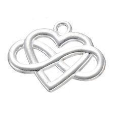 10pc Silver Plated Heart Infinity Friendship Pendant Bracelet Charms PJ811