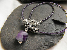 ETHNIC NECKLACE purple glass beads AMETHYST GEMSTONE pendant goth wicca 15-17""