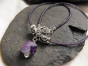 "ETHNIC NECKLACE purple glass beads AMETHYST GEMSTONE pendant goth wicca 15-17"""