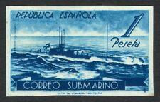 ESPAÑA - AÑO 1938 - EDIFIL 775ccgs - CORREO SUBMARINO - 1 PTA. AZUL OSCURO