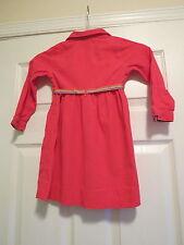 Tommy Hilfiger girls 4 4t coral pink snap front dress long sleeve belt collar